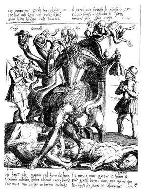 Panfleto del Duque de Alba comiendo criaturas